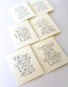 Set of 6 - Harry Potter Albus Dumbledore Quote Cards, encouragement inspirational quote handmade card, pre teen gift, party favor for kids