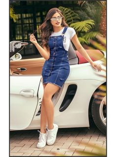 Discover recipes, home ideas, style inspiration and other ideas to try. Denim Dress Outfit Summer, Casual Dress Outfits, Girly Outfits, Simple Outfits, Stylish Outfits, Girls Fashion Clothes, Teen Fashion Outfits, Skirt And Sneakers, Mode Jeans