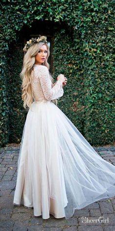 8bda05aa72b3 Long Sleeve Lace Top Beach Wedding Dresses With Slit Cheap Rustic Wedding  Dress Long sleeve lace rustic wedding dress.