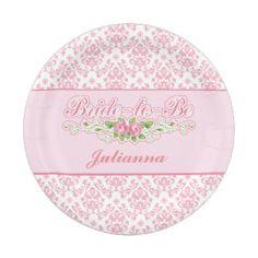 Salmon Pink Damask Bridal Shower Paper Plates