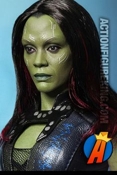Sixth-scale Gamora action figure with rooted hair and highly detailed cloth outfit. Fully articulated. 2014.