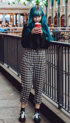 Black top with plaid trousers & sneakers by zoelondondj - #grunge #fashion #alternative