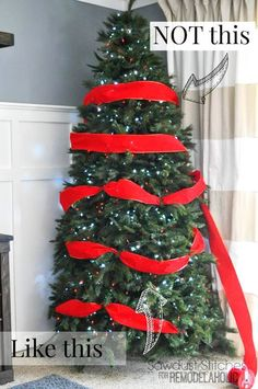} - A Piece Of Rainbow - - Beautiful Christmas tree decorating ideas & best DIY tutorials! Great pro tips & tricks on how to choose styles & colors, use ribbons & ornaments, & more! Ribbon On Christmas Tree, Beautiful Christmas Trees, Christmas Tree Themes, Christmas Design, Xmas Decorations, Xmas Tree, Christmas Fun, Christmas Ornaments, Holiday Decor