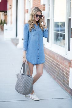 Chambray Dress and Converse Sneakers