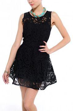 Sleeveless Lace Party Sleeveless Dress in Black