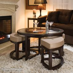 juniper glass coffee table and ottomans | coffee tables | raymour