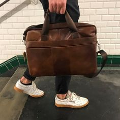 laptop bag brown real leather subway underground city trip white shoes shop now at safekeepers