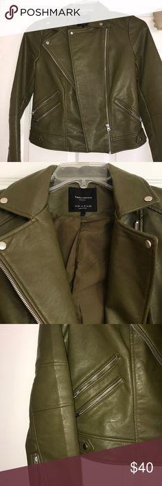 Women's Outerwear Biker/Motorcycle Faux leather Jacket Olive green Like New condition- worn handful of times Zara Jackets & Coats Utility Jackets