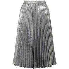Miss Selfridge Metallic Pleated Skirt ($95) ❤ liked on Polyvore featuring skirts, bottoms, silver metal, metallic skirt, pleated skirt, metallic pleated skirt, party skirts and knee length pleated skirt