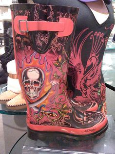 Ed Hardy pink rubber galoshes
