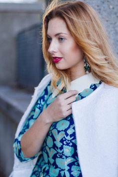 Statement Earrings, Blues, Kimono Top, Tops, Women, Fashion, Moda, Fashion Styles, Fashion Illustrations