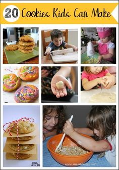 20 Cookies Kids Can Make - All of these delicious cookies have been baked by kids. Try them out with your child for a fun bonding experience! Cooking with Kids Cookie Recipes For Kids, Kids Cooking Recipes, Cookies For Kids, Making Cookies, Healthy Cooking, Lunch Recipes, Crockpot Recipes, Easy Recipes, Dinner Recipes