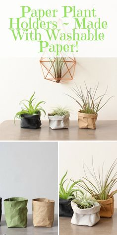 Paper Plant Holders (Made With Washable Paper). Ideal for holding plants or for organizing your home desk! Bbq Ideas, Patio Ideas, Garden Ideas, Budget Patio, Diy On A Budget, Garden Furniture, Furniture Ideas, Interior Design Guide, Paper Plants
