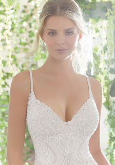 Morilee Madeline Gardner, Phaedra Style 1724 Allover Crystal Beaded Embroidery and Straps on a Slim, Soft World wide web Dress with Sheer Train and Scalloped Hemline. Colors Available: Ivory, Ivory/Cremé Chapel Wedding Dresses, Best Wedding Dresses, Net Gowns, Gowns Online, Perfect Wedding Dress, Dream Wedding, Fall Wedding, Blonde Beauty, The Dress