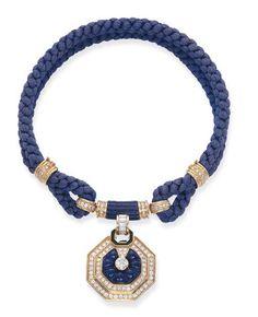 lapis lazuli, diamond and enamel High Jewelry, Luxury Jewelry, Jewelry Stores, Jewelry Accessories, Jewelry Design, Diamond Pendant Necklace, Diamond Jewelry, Silver Jewelry, Diamond Necklaces