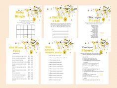Printable, Bee Theme Printable Baby Shower Games, Bumble Bee Baby Shower Games, Honey bee Baby Shower Games, Gender Reveal baby Shower Games,