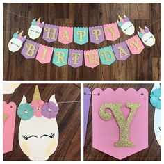 Your place to buy and sell all things handmade - Excited to share this item from my shop: Glam Unicorn Banner, Happy Birthday Banner, Unicorn Banner, Unicorn Happy Birthday Banner Diy Unicorn Birthday Party, Happy Birthday Decor, Diy Birthday Banner, Happy Birthday Banners, 1st Birthday Parties, Birthday Party Decorations, Farm Birthday, Birthday Wishes, Birthday Invitations