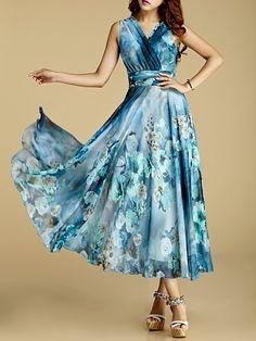 Shop Maxi Dresses - Chiffon Swing Beach Sleeveless Maxi Dress online. Discover…