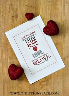 Faith, Hope and Love Free Printable | On Sutton Place