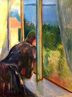 Inger By The Window by Edvard Munch Handmade oil painting reproduction on canvas for sale,We can offer Framed art,Wall Art,Gallery Wrap and Stretched Canvas,Choose from multiple sizes and frames at discount price. Claude Monet, Edward Munch, Amedeo Modigliani, Paul Gauguin, Oil Painting Reproductions, Art Moderne, Windows, Art Graphique, Kandinsky