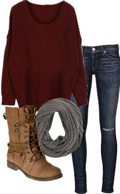 Fall, burgundy sweater, combat boots, knit scarf