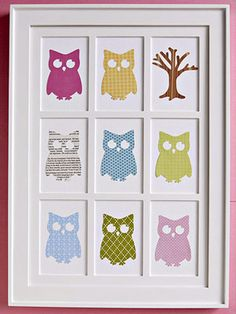 Owl Theme Nursery:  Framed Die Cut Owl Wall Decor