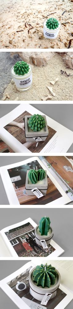 Here are various cactus candles for your joy! #candle #design #nature #cactus #interior #handmade #atelier #cocomellow