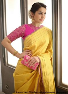 Gorgeous lady #RaashiKhanna attended Telugu Industry #DirectorRadhaKrishnaJagarlamudi popularly known as Krish and Ramya's wedding event wearing a beautiful yellow #puresilksaree paired with pink high neck #embroidered blouse. Big #traditional jhumkas, a cute pink clutch and pink lips completed this pretty looking lady's look.