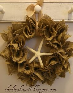 I want to make a wreath like this with summertime stuff, like a kids plastic shovel from the beach, a big star fish, and little kid flip flops...etc.  Wouldnt' that be cute?  I'll do it!