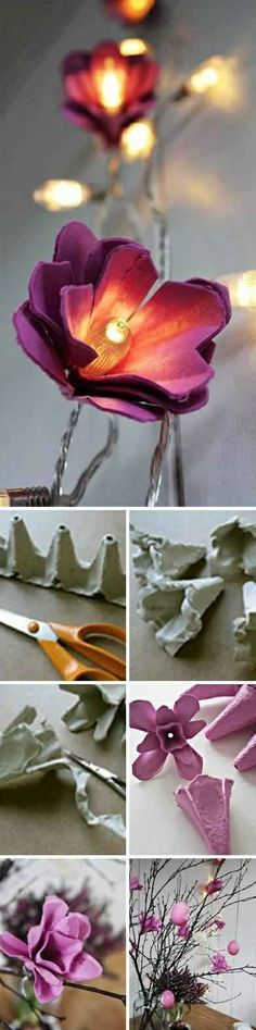 DIY Flower Lights Using Egg Cartons