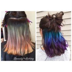 About three months after we did her original underlights. Didn't remove anyt, - About three months after we did her original underlights. Didn't remove anyt, - Underdye Hair, Hair Dos, New Hair, Hair Dye Colors, Cool Hair Color, Green Hair, Purple Hair, Peekaboo Hair, Best Hair Dye