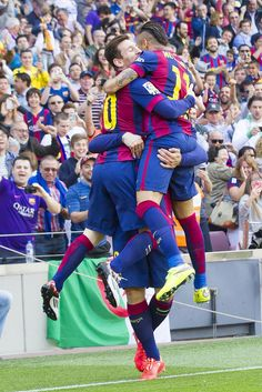 Picture: Messi, Suarez and Neymar celebrating #fcblive [via @fcb_onetouch] | FC Barcelona 2 - Valencia 0, La Liga, 18 April 2015