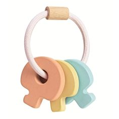 The Plan Toys baby keys rattle enhances your baby's fine motor skills while they enjoy shaking them. Keys are easy for babies to hold, finished in soft pastel colours and produced from sustainable materials. All PlanToys® are made from non-toxic, natural materials such as organic rubberwood. Plan Toys, Rubber Tree, Sustainable Gifts, Toys Online, Baby Rattle, Wood Toys, Toy Store, Fine Motor Skills, Beautiful Babies