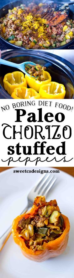 Paleo Chorizo Stuffed Peppers are a delicious, easy to make dish that are perfect as make-ahead lunches or large group meals. Dairy and Grain free.