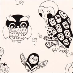 off-white heavy oxford owl fabric Alexander Henry USA (per yard multiple) Owl Fabric, Retro Fabric, Dark Colors, Colours, Funny Owls, Alexander Henry, Japanese Fabric, Amazon Art, More Cute