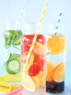Idees de recettes d'eaux detox - Water detox fruits