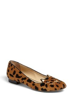 Charlotte Olympia 'Kitty' Flat available at #Nordstrom smoking slipper + leopard print+ kitty= perfection
