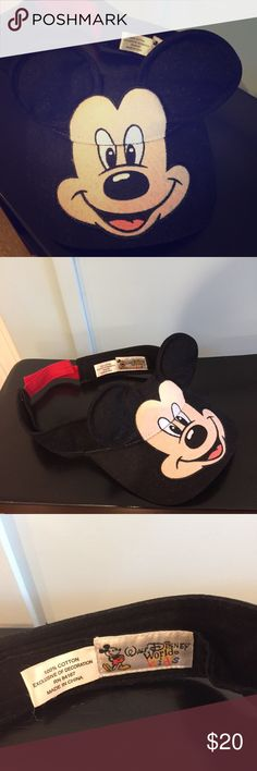 Mickey Mouse visor from Walt Disney world Mickey Mouse visor from Walt Disney world. Authentic. Used on one vacation. Good condition. Perfect for your upcoming trip to meet the Mouse!!! Smoke free and pet free home! Disney Accessories Hats