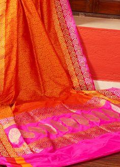 Rust Jamewar Saree With Blouse - C1002 | Indian Silk House Agencies