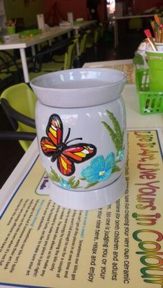 Wax burner for all my fragrant waxes, my house will smell wonderful.  Painted At The Painted Turtle Pottery Studio.