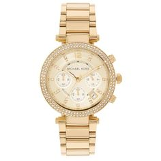 Michael Kors Parker 39mm Chronograph Glitz Watch ($400) ❤ liked on Polyvore featuring jewelry, watches, bracelet watches, chrono watches, michael kors bracelet, michael kors watches and bezel watches