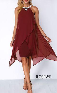 ec26eedb334 Chiffon Overlay Embellished Neck Wine Red Dress.  Rosewe dress chiffon Blue  Chiffon