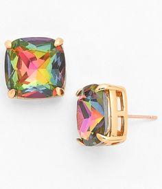 fun rainbow square stud earrings