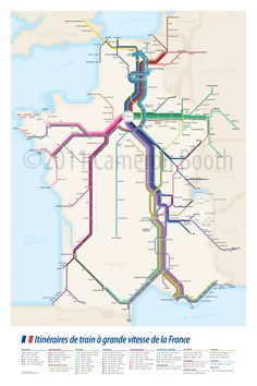 Presenting my next transit-styled diagram, this time showing all the high speed train routes that pass through France. This includes the French (SNCF) TGV trains, the Eurostar trains from London, t… Train Map, Train Route, Train Travel, France City, France Map, France Travel, Disneyland Paris, Bus Route Map, Trains