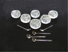 Antique Salt Cellars with Spoons  Cut Glass  by EmbracingYesterday, $67.00