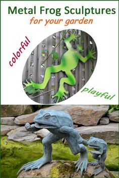 Who doesn't love frogs? These colorful metal frog sculptures of frogs dancing, flying a kite, hopping around and just plain having fun, will bring a smile to your face. Outdoor Statues, Outdoor Sculpture, Garden Sculptures, Frog Statues, Animal Statues, Metal Garden Art, Metal Art, Love Garden, Dance