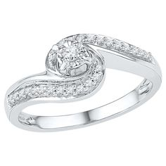 1/6 CT. T.W. Round Diamond Prong Set Promise Ring in Sterling Silver