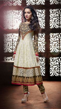 Clothing ideas for awesome ladies  Shraddha Kapoor Fantastic White Georgette Bollywood Salwar Kameez