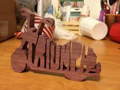 gift made for a biker family member.  Cut from Purple Heart Wood