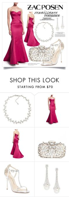"""""""Fuchsia Gown 3055"""" by boxthoughts ❤ liked on Polyvore featuring Carolee, Zac Posen, Natasha, Chinese Laundry, Nadri and Marc Jacobs"""